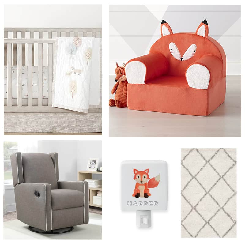 crib, everywhere chair, glider, night light and rug