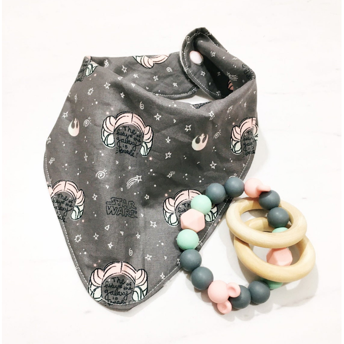 Gray and pink Star Wars themed drool bib with