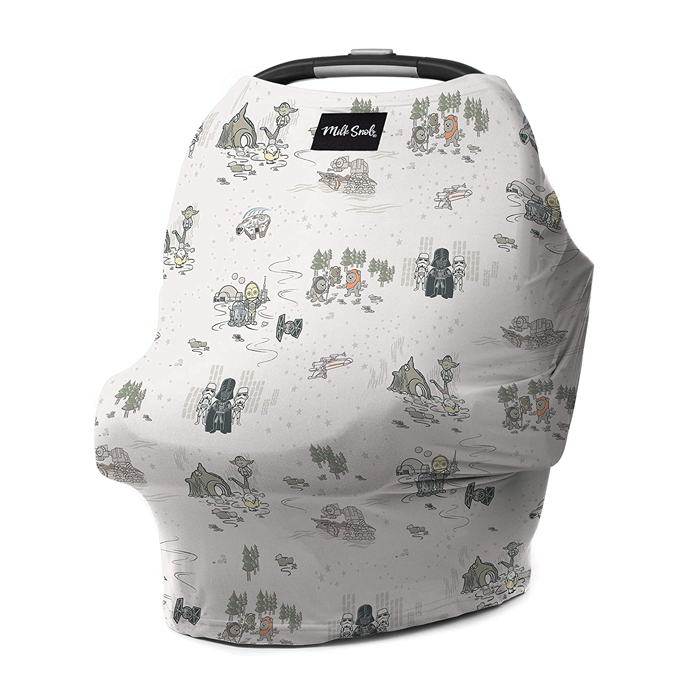 Star Wars themed Milk Snob car seat cover featuring Darth Vader, Storm troopers, and Ewoks