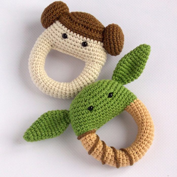 Star Wars Baby rattles featuring Yoda and Princess Leia